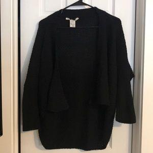 Black open cardigan sweater